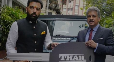 Anand Mahindra handed over the key to the Thar 700 Limited Edition to Udaipur Prince
