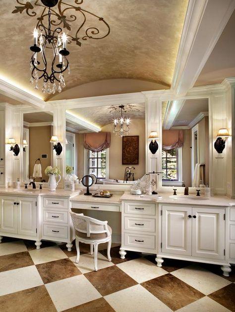 bathroom vanity with makeup vanity attached | French Bathroom With Dual Vanities and Makeup Desk : Designers ...