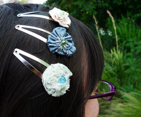 Rosette Barrettes, easy to make with ribbons and beads