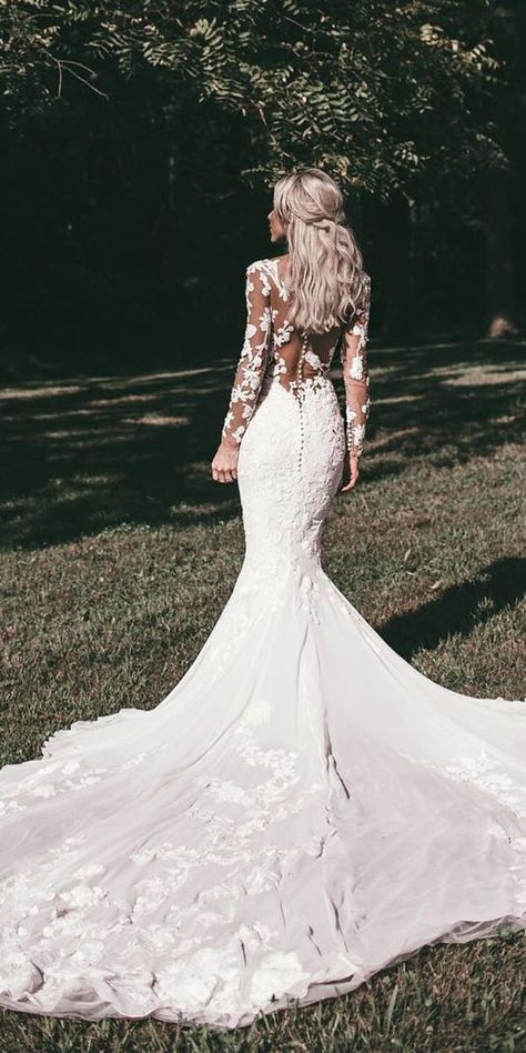 Wedding Gown wedding gown styles mermaid with long sleeves illusion back floral pronovias - Wedding dress shopping can be a bit intimidating. Here is a helpful guide to familiarize yourself with the different wedding gown styles that are available. Wedding Dress Black, Lace Wedding Dress With Sleeves, Wedding Dresses 2018, Long Sleeve Wedding, Elegant Wedding Dress, Wedding Dress Styles, Dresses With Sleeves, Lace Sleeves, Bridal Dresses