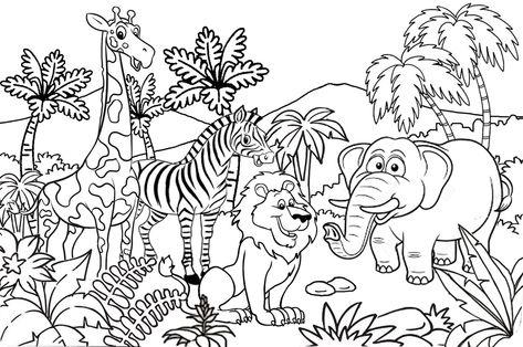 Catatanku Anak Desa Gambar Mewarnai Tema Kebun Binatang Di Untuk Diwarnai Binatang Kebun Binatang Kartun