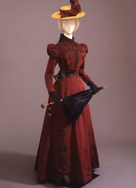 Two-piece walking dress in wine-colored faille, Italian manufacture, c. at the Pitti Palace Costume Gallery. Via Europeana Fashion.-Inspiration for a 'Lady-like' SteamPunk costume. 1890s Fashion, Edwardian Fashion, Vintage Fashion, Edwardian Era, Gothic Fashion, Edwardian Dress, Victorian Dresses, Classic Fashion, Antique Clothing