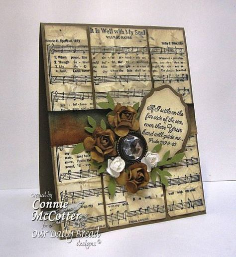 Sheet Music Card, this would also be beautiful as a Christmas card with poinsettias as the flowers