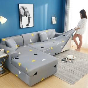 2 Pcs Corner Sofa Cover Elastic Couch Cover For Sofa Sectional L