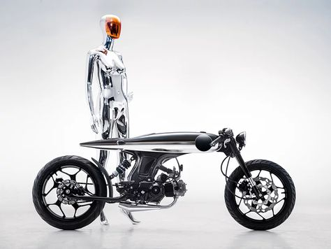 bandit9 EVE LUX motorcycle dresses futuristic form in two-tone pinstripe