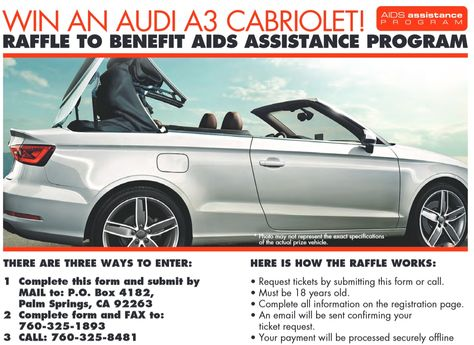 Audi Car Raffle - 400 raffle tickets sold at $300 each to raise funds for AIDS charity