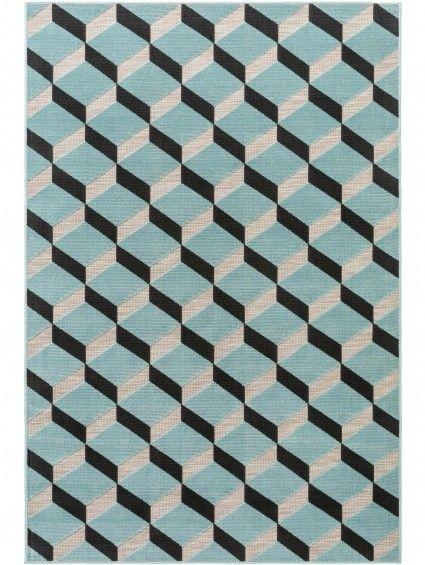 Tapis D Exterieur Interieur Rasco Gris Turquoise 120x170 Cm
