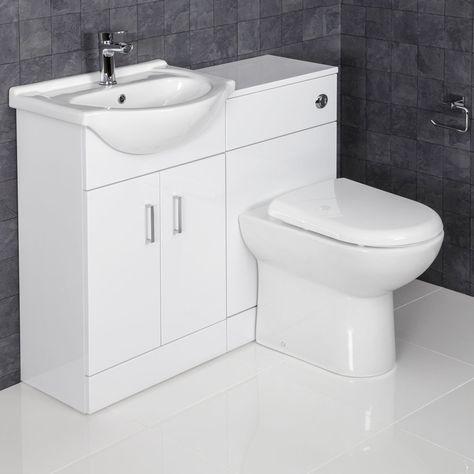 Essence White Gloss D Shaped Toilet Basin Vanity Unit 1050mm