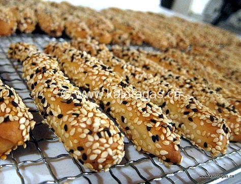 Kritsinia (Sesame covered Bread Sticks)  Kalofagas. IMG_0035-1