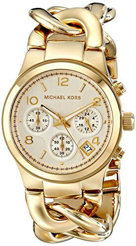 This stylish Michael Kors women's watch features a light champagne opaline chronograph dial, a date window, three subdials and a gold-tone stainless steel bracelet and case.