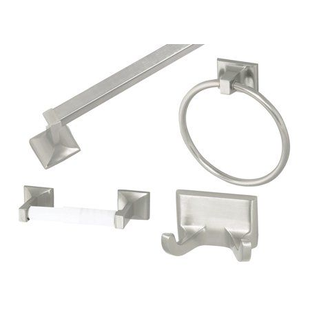 Design House 534644 Millbridge 4 Piece Bathroom Accessory Kit Satin Nickel Finish Bathroom Hardware Set Bathroom Accessories Sets Bathroom Hardware
