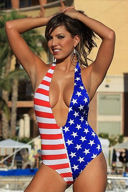 Low cut stars and stripes bathing suit.