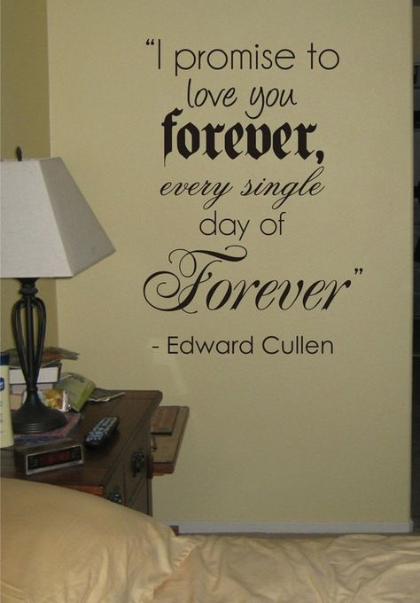 I Promise To Love You Forever Edward Cullen Twilight Quote Decal Sticker Wall Vinyl Decor Art - grey
