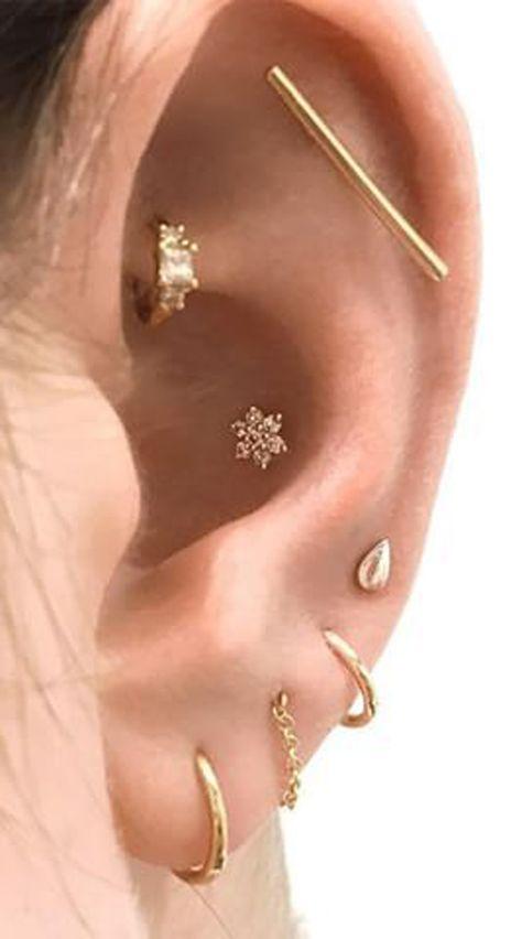 Multiple Ear Piercing Jewelry Ideas Crystal Flower Earring Stud for Cartilage Conch Helix Earring St