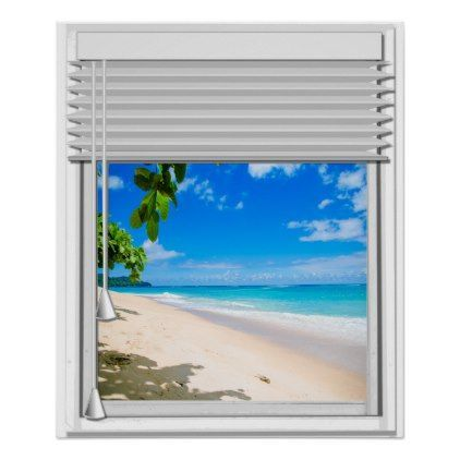 Tropical Ocean View Faux Window With Blinds Poster Zazzle Com Blinds Faux Ocean Poster Tropical View Window Zazzlec In 2020 Fake Window Faux Window Ocean View