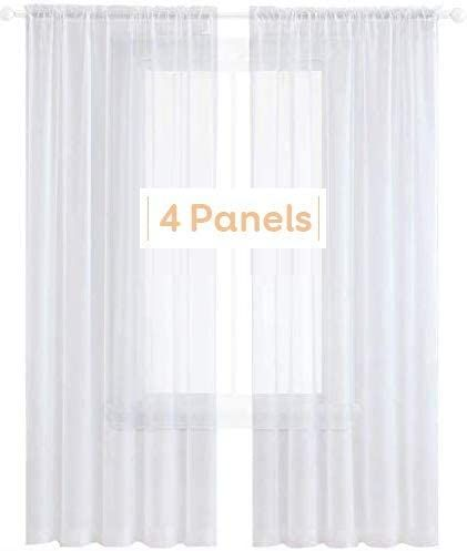 Anjee White Sheer Curtains 96 Inches Long 4 Panels Semi Sheer Curtain For Bedroom Living Room Dining Room 5 White Sheer Curtains Cheap Sheer Curtains Curtains 96 inches sheer curtains