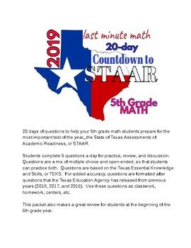 5th Grade Math: Countdown to STAAR - 20 days of review of TEKS