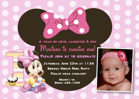 Cool Minnie Mouse First Birthday Invitations Designs