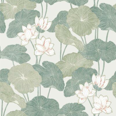 World Menagerie Circinus Lily Pad 16 5 L X 20 5 W Peel And Stick Wallpaper Roll In 2021 Lily Pads Wallpaper Roll Peel And Stick Wallpaper
