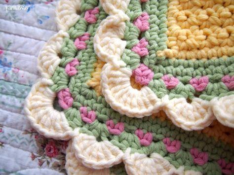 Love this border. Body is the tiramisu baby blanket pattern. (All sc)