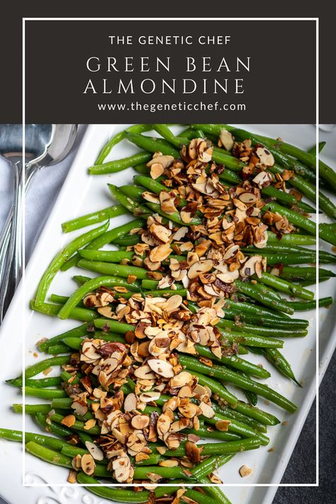 Green beans almondine is an elegant side dish prepared with little effort and pairs well with just about anything. Green beans are coated with buttery, shallots and garlic, then topped with toasted almonds. #greenbeanalmondine #vegetables #sidedish #recipe #greenbeans #vegetarian