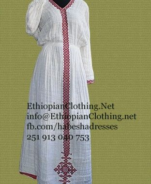 Ethiopian traditional dress from Tigray, 100% cotton, amazing hand embroidery, very comfortable, and handmade.