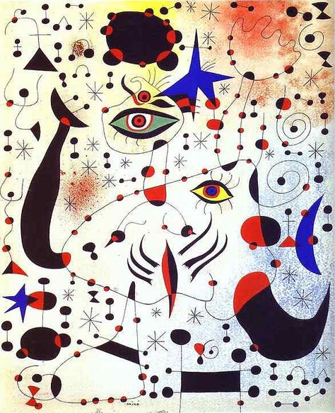 I don't ever recommend messing with a game changer like Miro but this artwork is to die for.  I can see this hanging over an ivory stand alone bathtub with gilded claws.    Meow.  Miró & DVF