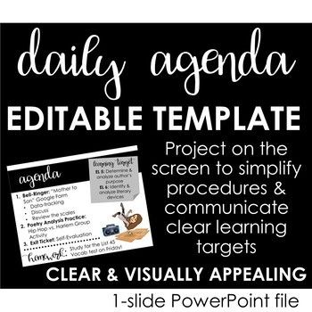 No More What Are We Doing Today Questions Get Organized With This Editable Daily Agenda Template Designed Agenda Template Learning Goals Classroom Agenda