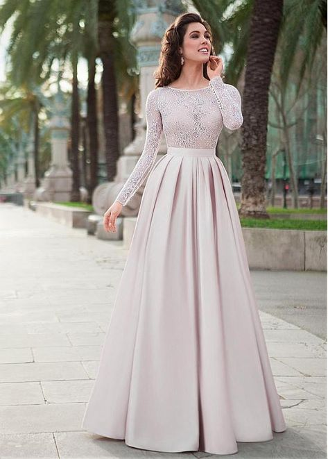 Bridesfamily Winsome Lace & Satin Jewel Neckline Long Sleeves A-line Evening Dress