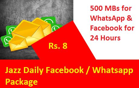 Jazz Daily Facebook Whatsapp Package Give To Their Costumers 500 Mbs Data For Facebook Whatsapp Only In Rs 8 For 24 Hours 500 M In 2020 Jazz Internet Speed Daily