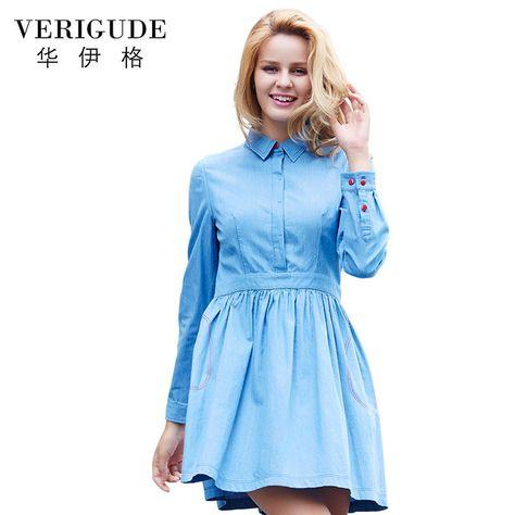 4b907da4d5b Veri Gude Осень Платье Полный Рукав Джинсовой Платье для Женщин Скрытые  Кнопки Fit и Flare HJL-Q1116