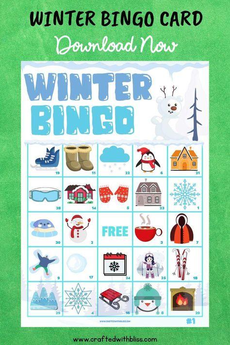 printable winter themed bingo cards winter bingo printable