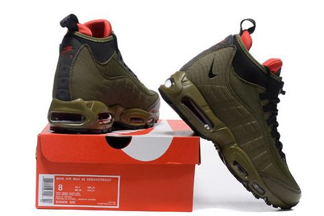 New Arrival Nike Air Max 95 Sneakerboot Winter Men's Casual Sports Shoes Army Green Black Red 806809 300