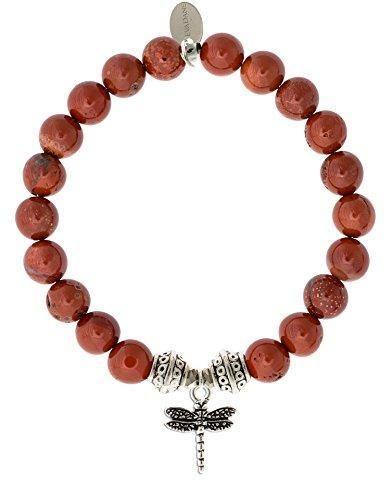 Natural Gemstone Jewelry Matte Amazonite Stretch Bracelet Red Jasper Gift Bohemian Stacking Bracelet Tibetan Bracelet Boho Chic Style