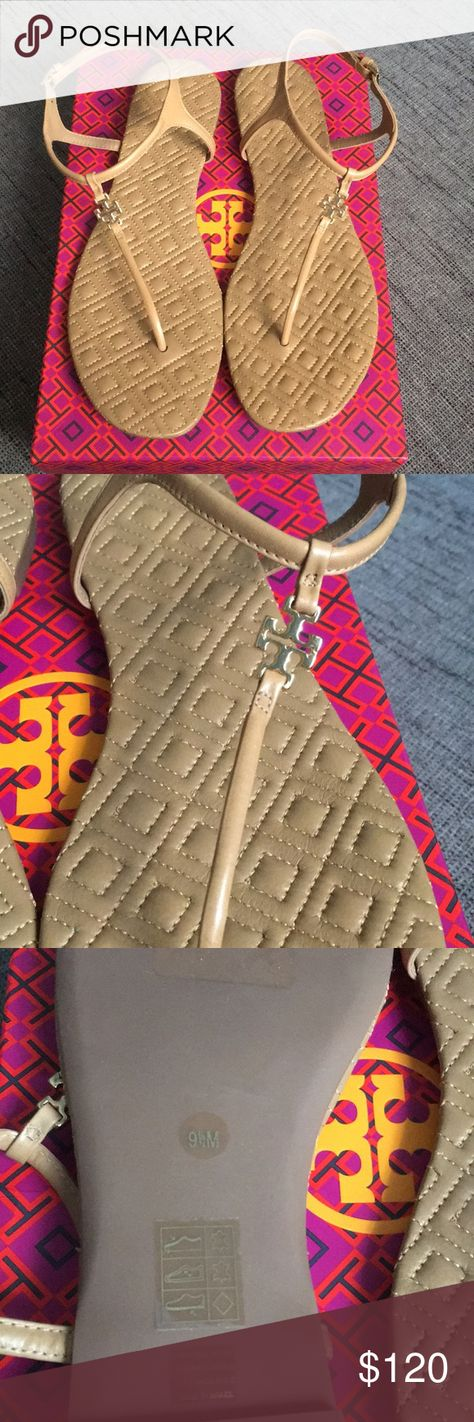 66800c971dc NIB Tory Burch Marion Quilted Sandal Sand Nude 9.5 New in box Tory Burch  Marion quilted t strap sandal in nude sand. This shoe has gold buckle and t  logo on ...