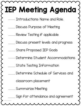 Special Education Meeting Agenda Meeting Agenda Special Education Iep Meetings