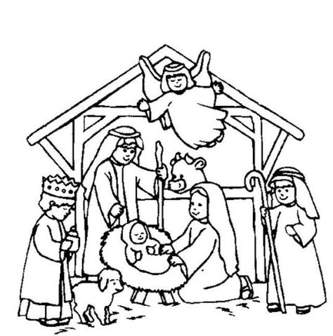 Nativity Scene Coloring Page Nativity Coloring Pages Christmas