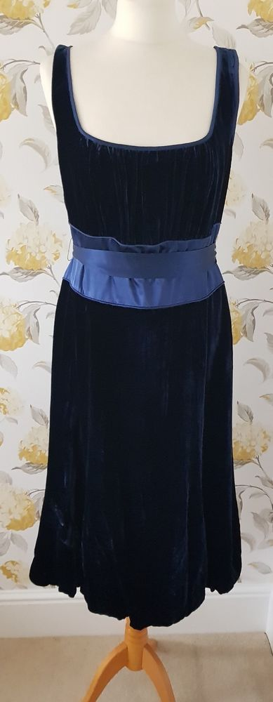 Phase Eight Navy Blue Velvet Dress With Silk Tie Waist Size 14  fashion   clothing 5f3e5459a