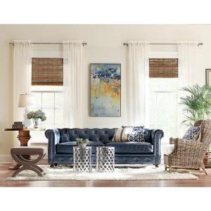 Home Decorators Collection Gordon Blue Leather Sofa 0849400310 Blue Leather Sofa Home Decorators Collection Home Decor