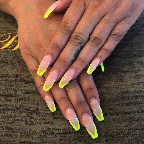 V Shape Yellow French Nails By Vicky Bellagiostudiosalon Sanjose Bayarea Bayareaarti Cute Acrylic Nail Designs French Tip Nail Designs Simple Acrylic Nails
