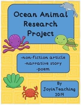 Ocean Animal Research Project:  Informational Article, Narrative, Poem