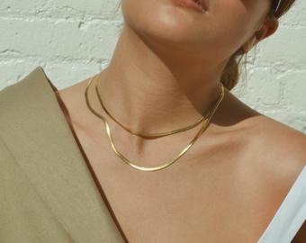 snake chain choker 18K gold filled herringbone necklace gold herringbone choker
