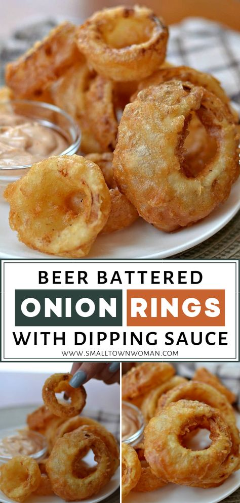Beer Battered Onion Rings with Dipping Sauce are a new favorite! A super quick and easy 7-ingredient beer batter makes these onion rings so flavorful and crispy. Dip in a 6-ingredient lime mayo to taste a slice of heaven! Pin this for a must-try appetizer recipe!Beer #Battered #Onion #Rings #with #Dipping #Sauce #are #a #new #favorite! #A #super #quick #and #easy #7-ingredient #beer #batter #makes #these #onion #rings #so #flavorful #and #crispy. #Dip #in #a #6-ingredient #lime #mayo #to #taste