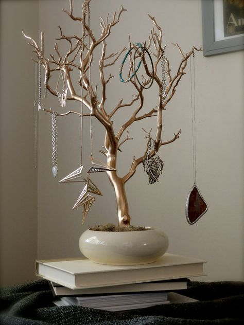 """Jewelry Holder Organizer Tree Gold and Cream 18"""" painted tabletop branch necklace hanger bedroom decor for her"""