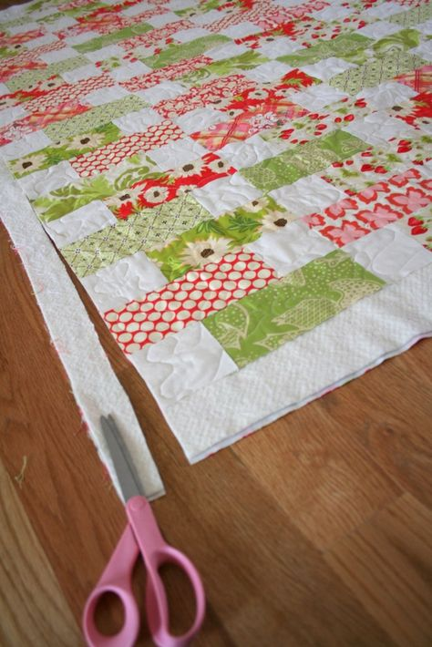 """Easy - cut 100 7-1/2""""X 3-1/2"""" rectangles from the print fabrics and 100 3-1/2"""" X 3-1/2"""" squares from neutral fabric. Dimensions could be adjusted to use jelly roll."""