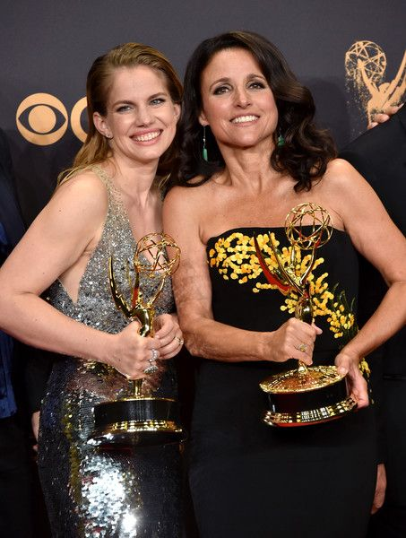 Anna Chlumsky and Julia Louis-Dreyfus, winners of the award for Outstanding Comedy Series for 'Veep,' pose in the press room during the 69th Annual Primetime Emmy Awards.