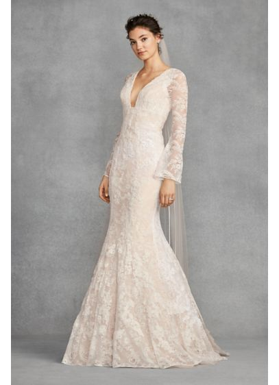 13dfc0495f1 White by Vera Wang Bell Sleeve Lace Wedding Dress Style VW351428 ...