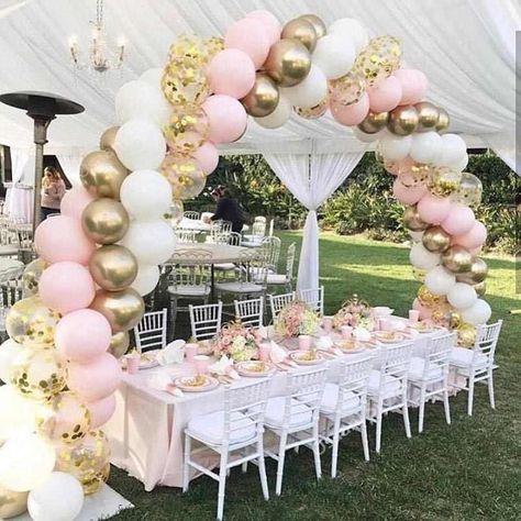 Confetti Balloons, Balloon Garland, Diy Garland, Pink Balloons, Balloon Arch Diy, Gold Confetti, Ballon Arch, Balloon Balloon, Balloon Topiary