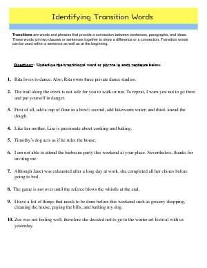 Worksheet Identifying Transition Words Read And Underline The