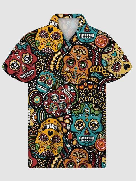 Cool Shirts, Casual Shirts, Skull Shirts, Fashion Prints, Types Of Sleeves, Cool Outfits, Simple Outfits, Mens Fashion, Grey Fashion